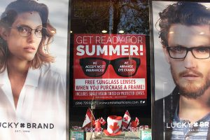 Red Cristall Opticians Store Front Poster - Print Design by Reaxion Graphics, Brandon, Manitoba