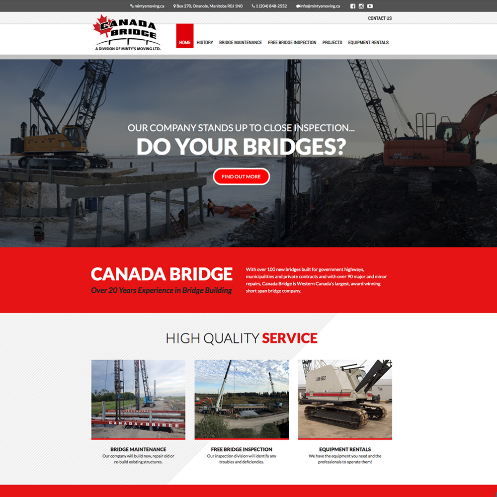 Canada Bridge Website Design, Onanole, MB, by Reaxion Graphics