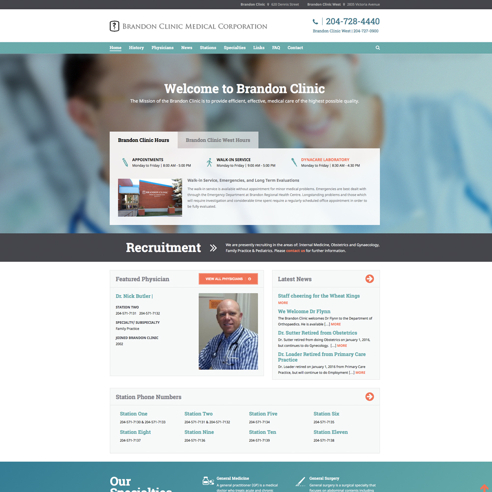 Brandon Clinic Website Design - Brandon, MB, by Reaxion Graphics