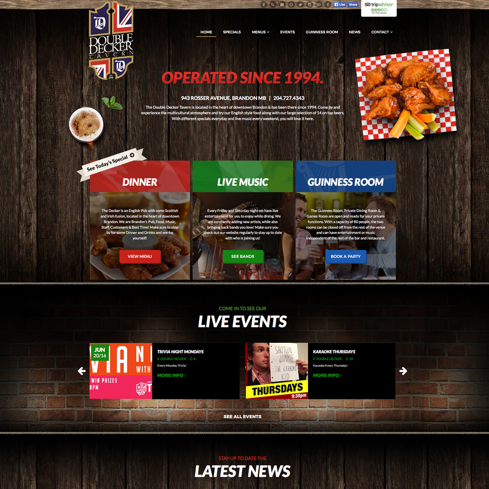 Double Decker Tavern Website Design - Brandon, Manitoba, Reaxion Graphics