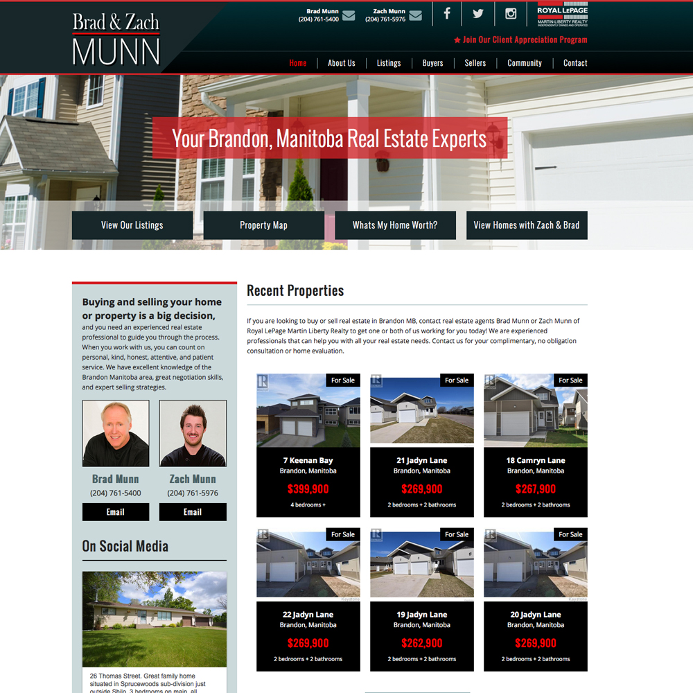 Munn Real Estate Website Design - Brandon, Manitoba,