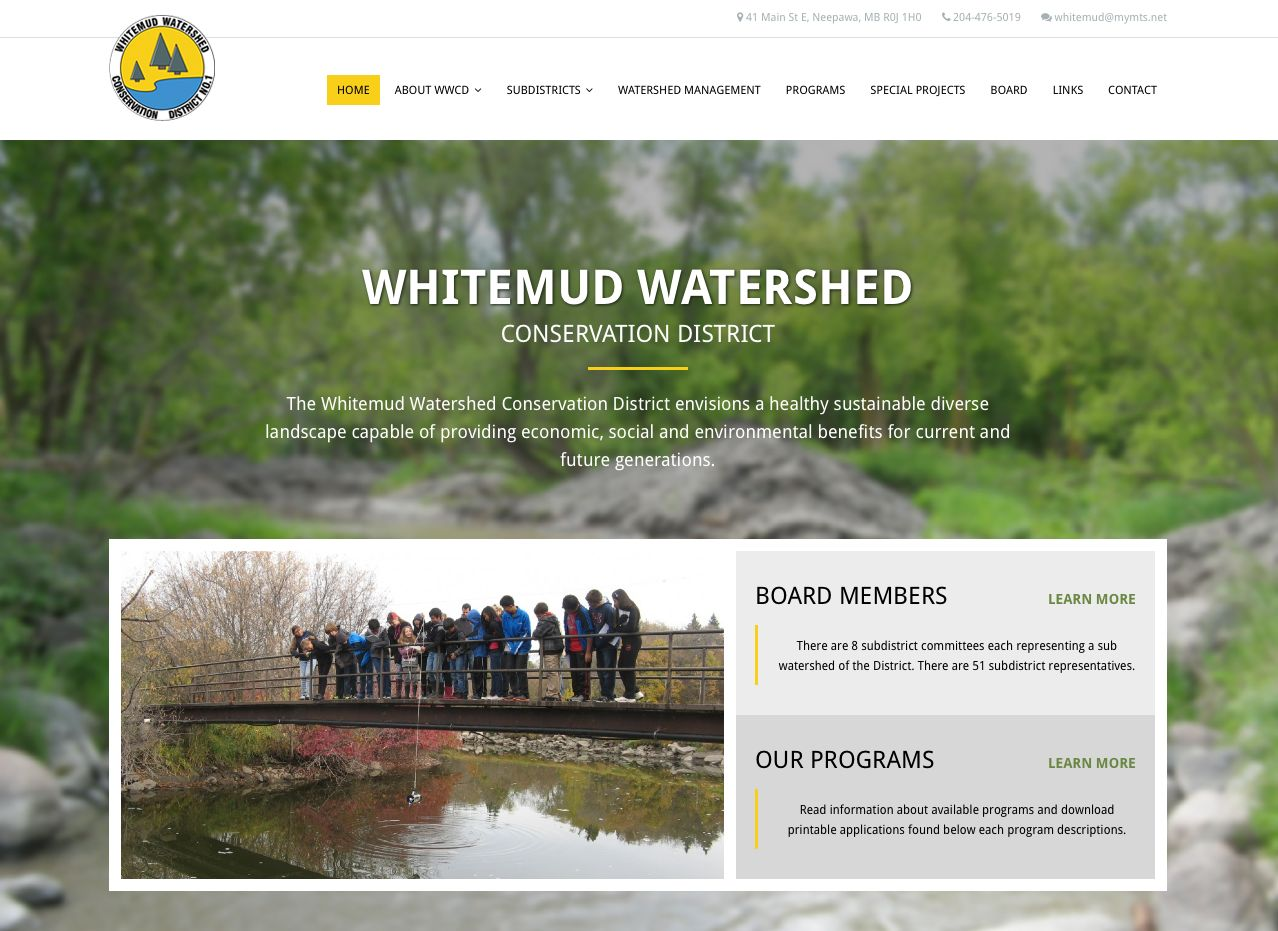 Whitemud Watershed Conservation District Website by Reaxion Graphics