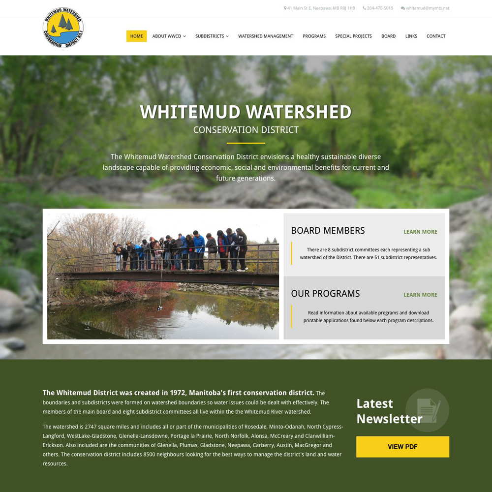 Whitemud Watershed Conservation District, Neepawa, Manitoba - Website Design