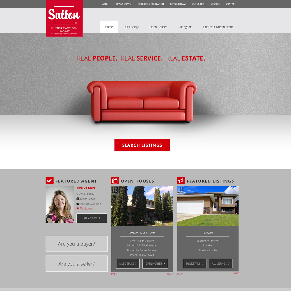 Sutton-Harrision Realty Web Design - Brandon, Manitoba, Reaxion Graphics