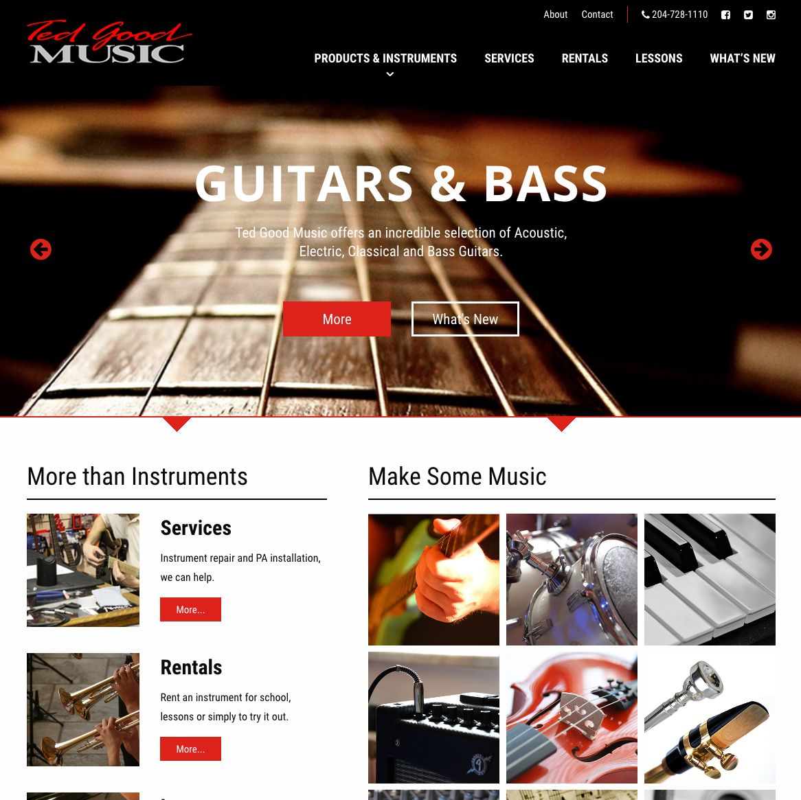 Ted Good Music, Brandon, Manitoba, Website Design