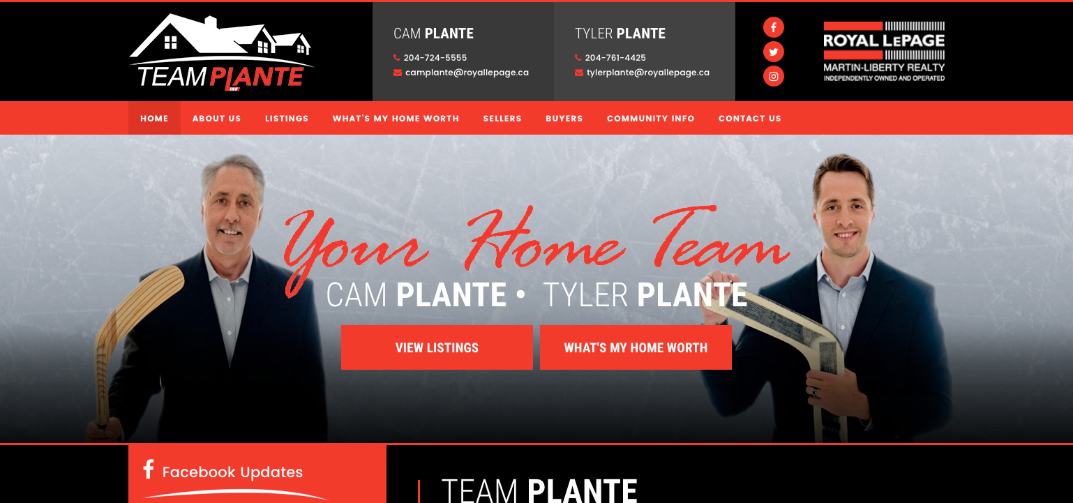 Team Plante Website - Tyler Plante - Cam Plante - Royal LePage, Brandon