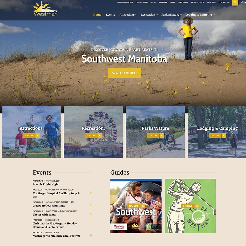 tourismwestman.ca - Website by Reaxion Graphics