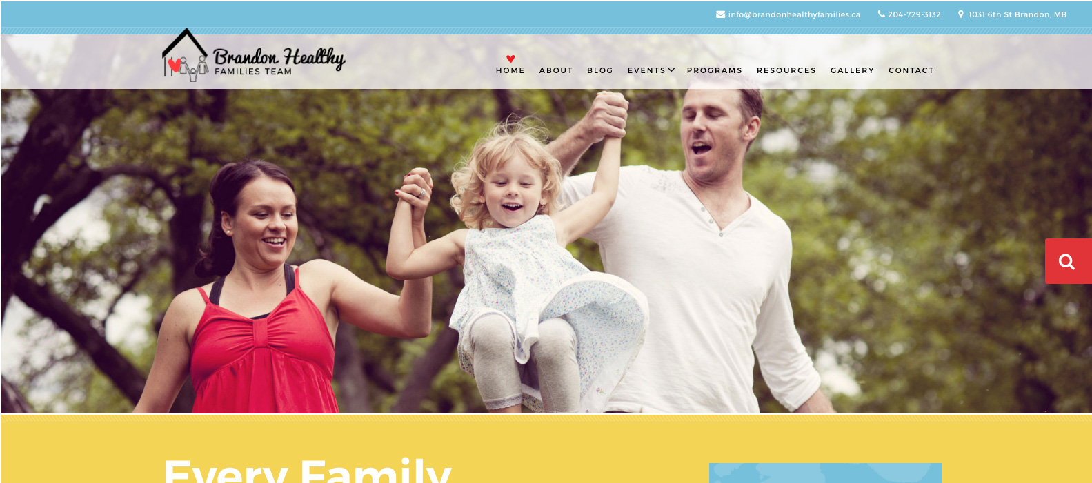Brandon Healthy Families Team, Brandon, Manitoba, Web design
