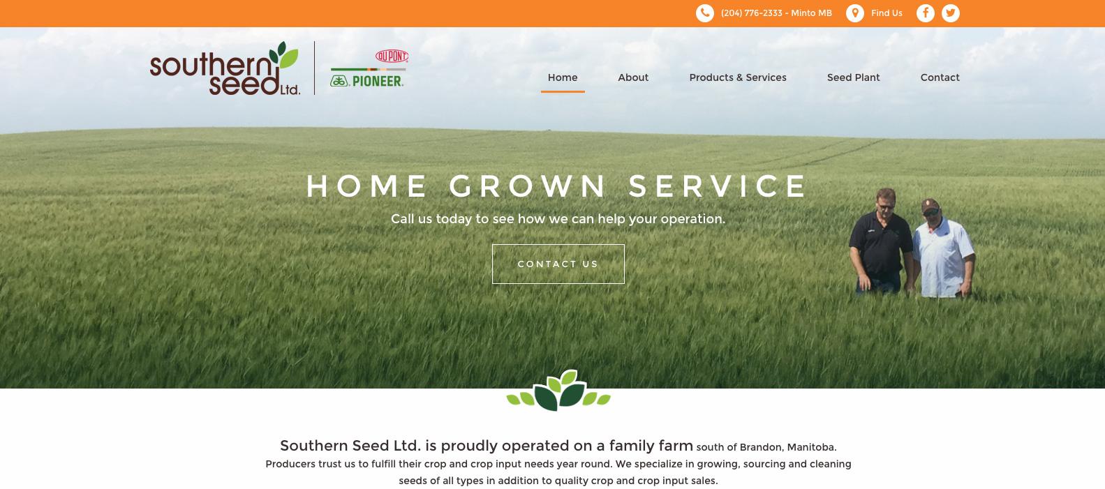 Southern Seeds, Manitoba, Web design