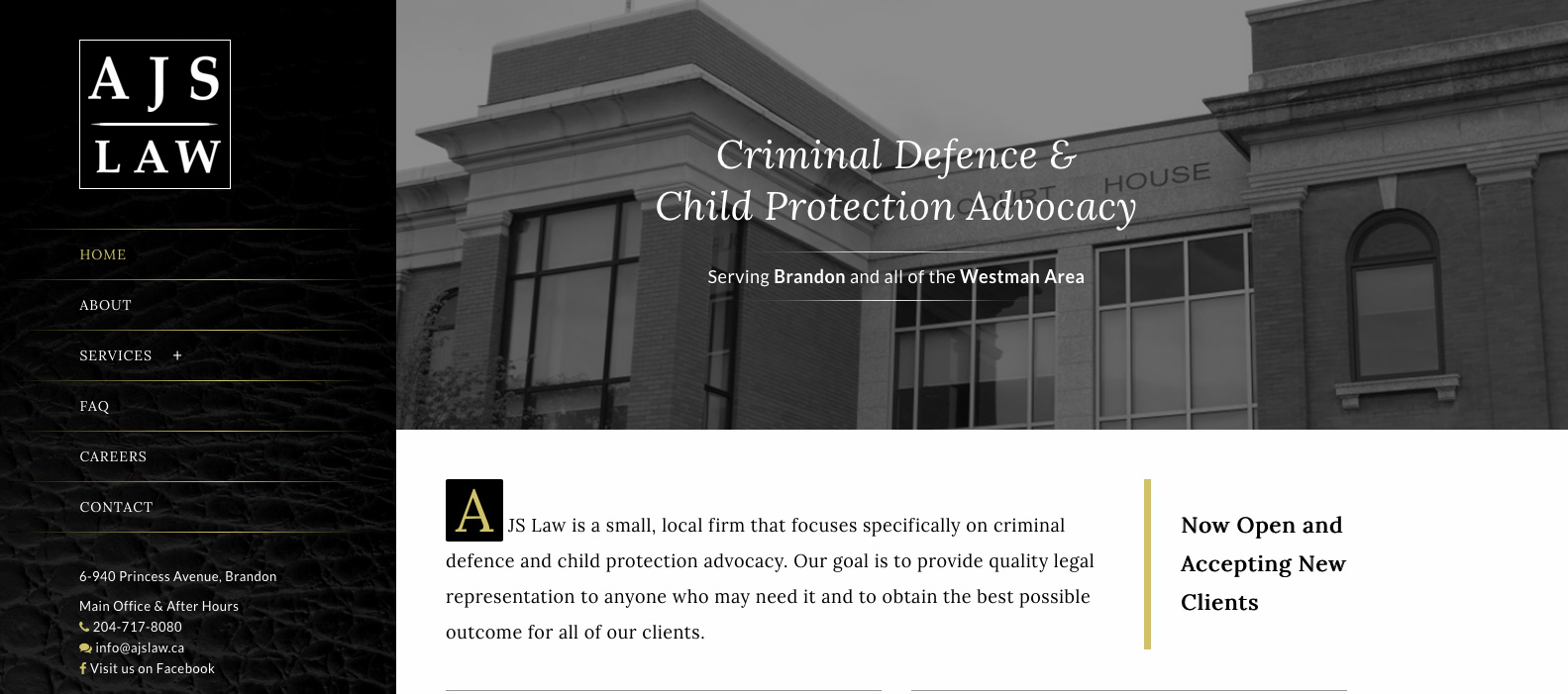 AJS Law, Brandon, Manitoba, Web design